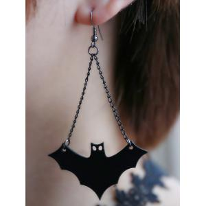 PU Leather Fan Shaped Bat Halloween Earrings -