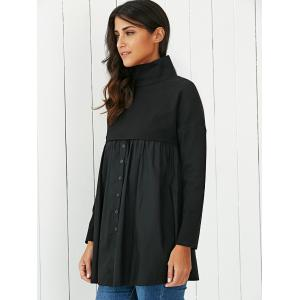 Ruched Patchwork Buttoned Dress - BLACK XL