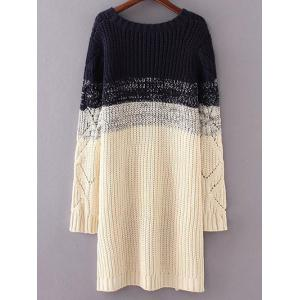 Round Neck Long Sleeve High-Low Ombre Loose Sweater -