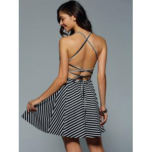 Criss Cross Stripe Backless Skater Dress -