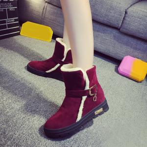 Belt Buckle Round Toe Snow Boots -