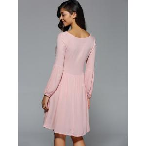 Front Bow Tie Swing Short Dress with Sleeves - NUDE PINK XL