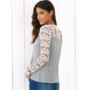 Lace Trim Floral Blouse - GREY AND WHITE M
