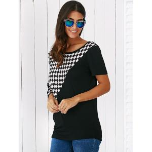 Batwing Sleeve Plaid Patchwork Blouse -