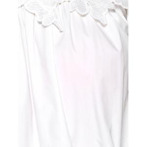 Preppy Style Lace Spliced Off The Shoulder Blouse -