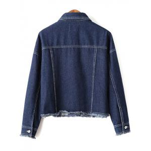 Shirt Collar Long Sleeve Print Pockets Denim Jacket -