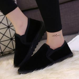 Dark Color Elastic Band Flock Flat Shoes - BLACK 43