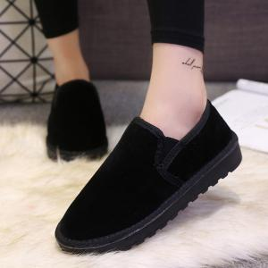 Dark Color Elastic Band Flock Flat Shoes -