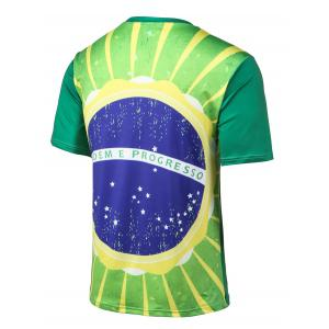 Flag Print Round Neck Short Sleeve T-Shirt - GREEN 4XL