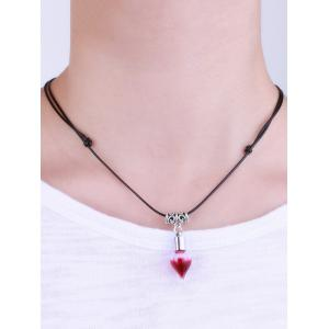 Faux Leather Rope Blood Halloween Necklace -