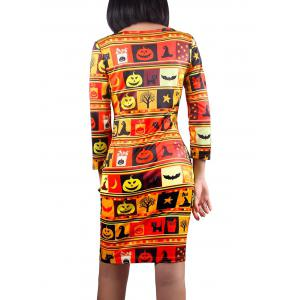 3/4 Sleeve Halloween Pumpkin Lantern Print Dress -