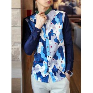 Color Block Long Sleeve Buttoned Shirt -