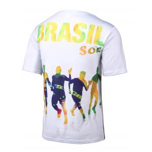 Football 3D Print Round Neck Short Sleeve T-Shirt -