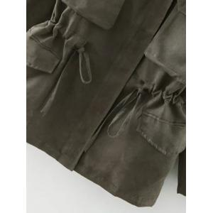 Turn-Down Collar Long Sleeve Drawstring Faux Suede Trench Coat -