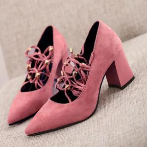 Tie Up Cross Straps Rivets Pumps - WATERMELON RED 40