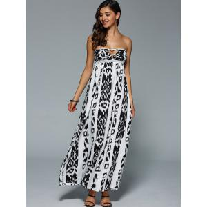 Bohemian Illusion Printed Cutout Bandeau Maxi Dress -