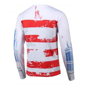 3D Building Print Round Neck Long Sleeves T-Shirt - WHITE 4XL