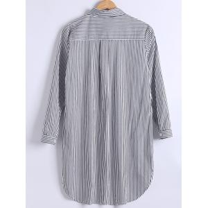 Plus Size Long Sleeve Stripe High Low Shirt -