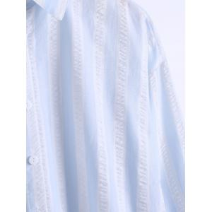Loose Fitted  Vertical Stripe High Low Shirt -
