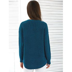 Loose Fit Pullover Sweater - PEACOCK BLUE ONE SIZE