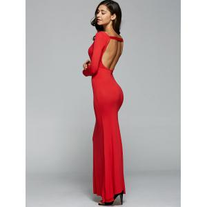Open Back Maxi Long Sleeves Bodycon Prom Evening Dress -