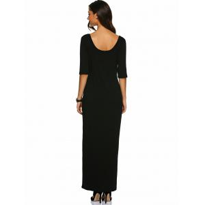 U Neck Fitted Long Dress - BLACK XL