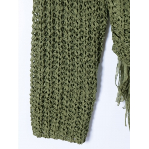 Tassels Ripped Scoop Neck Knitwear - DEEP GREEN ONE SIZE