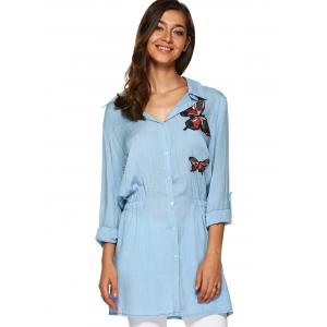 Butterfly Applique Elastic Waist Long Shirt -