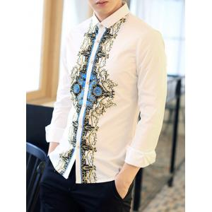 Symmetrical Pattern Printed Long Sleeve Shirt -