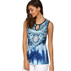 Tribal Print Hollow Out Open Back Tank Top -