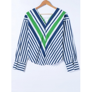 Striped Lace-Up Blouse -