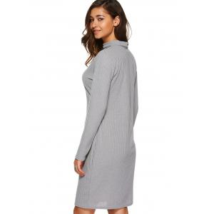 Long Sleeve Knitted Bodycon Dress - LIGHT GRAY L