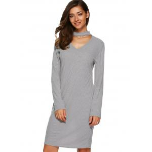 Long Sleeve Knitted Bodycon Dress -