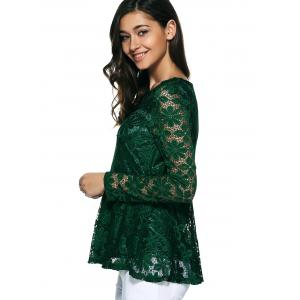 Pullover Lace Peplum Blouse - GREEN S