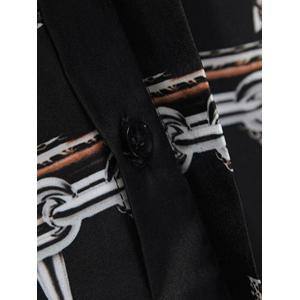 Long Sleeve Chain and Cross Printed Shirt - BLACK M