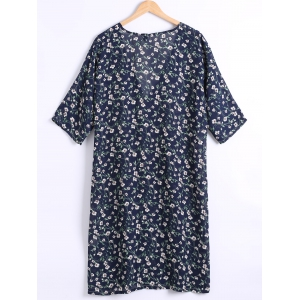 Tiny Floral Printed Long Chiffon Blouse -