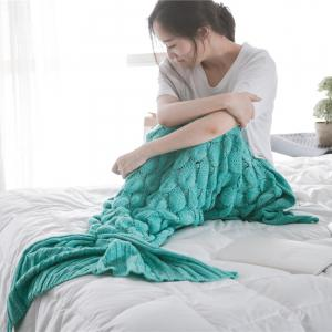 Fish Scale Yarn Knitted Sleeping Bag Mermaid Blanket - MINT GREEN