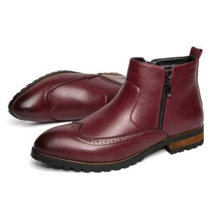 Engraving Point Toe Zipper Side Boots - RED 40