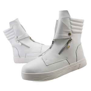 Snap Double Zipper Stitching Casual Shoes - WHITE 41