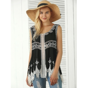 Bohemian Embroidered Crochet Fringed Tank Top -
