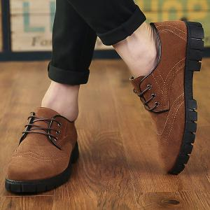 Suede Engraving Tie Up Casual Shoes -