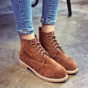Suede Lace-Up Flat Heel Short Boots - BROWN 39