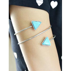 Chain Faux Turquoise Triangle Arm - Argent
