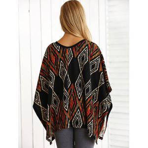 Bohemian Lace-Up  Argyle Cape Blouse -
