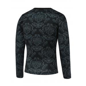 Floral and Figure Print Round Neck Long Sleeve Sweatshirt -