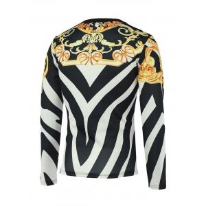 Floral and Color Block Print Round Neck Long Sleeve Sweatshirt - COLORMIX 3XL