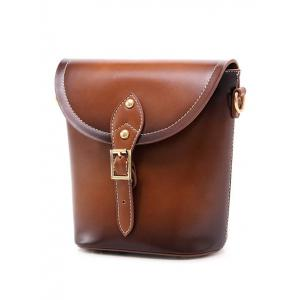 PU Leather Stitching Buckle Crossbody Bag -