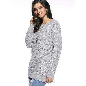 Long Sleeve Loose Sweater - GRAY ONE SIZE