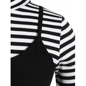 Plus Size Stripe Long Sleeve T-Shirt and Cami Dress Twinset -