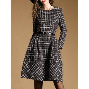 Belted Checked Skater Dress with Sleeves - BLACK 2XL